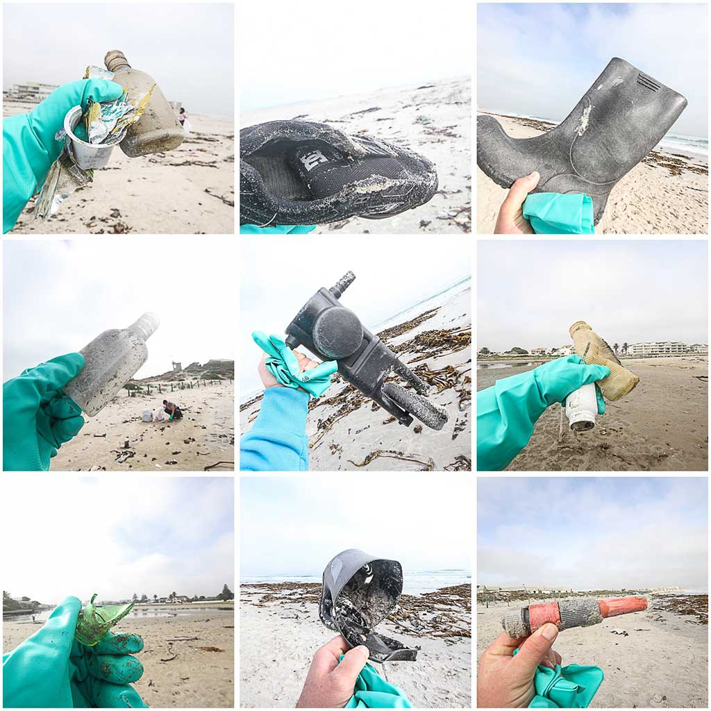 trash picked up on the beach at beach clean-up